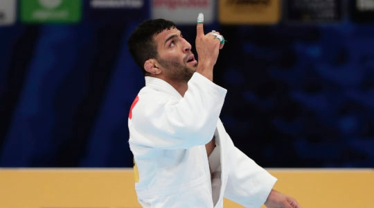 Saeid Mollaei reacts after a victory at the World Judo Championships in Tokyo, Aug. 28, 2019. (Kiyoshi Ota/Getty Images)