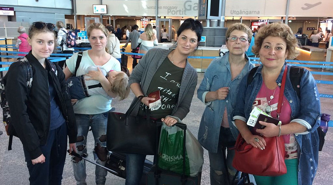 Immigrants from Russia on their way to Israel at Helsinki airport in November 2018. (Courtesy of International Christian Embassy Jerusalem)