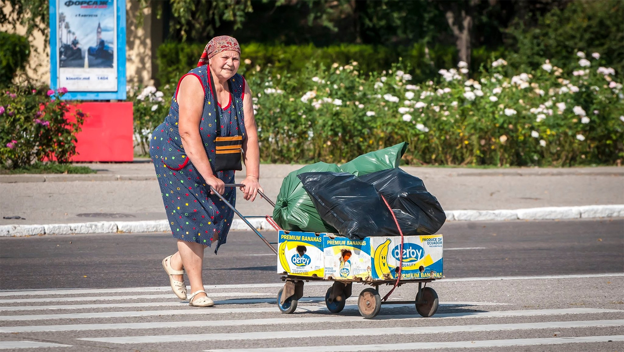 A woman crossing the road in Tiraspol, Transnistria on Aug. 24, 2019. (Courtesy of Roman Yanushevsky/Channel 9)