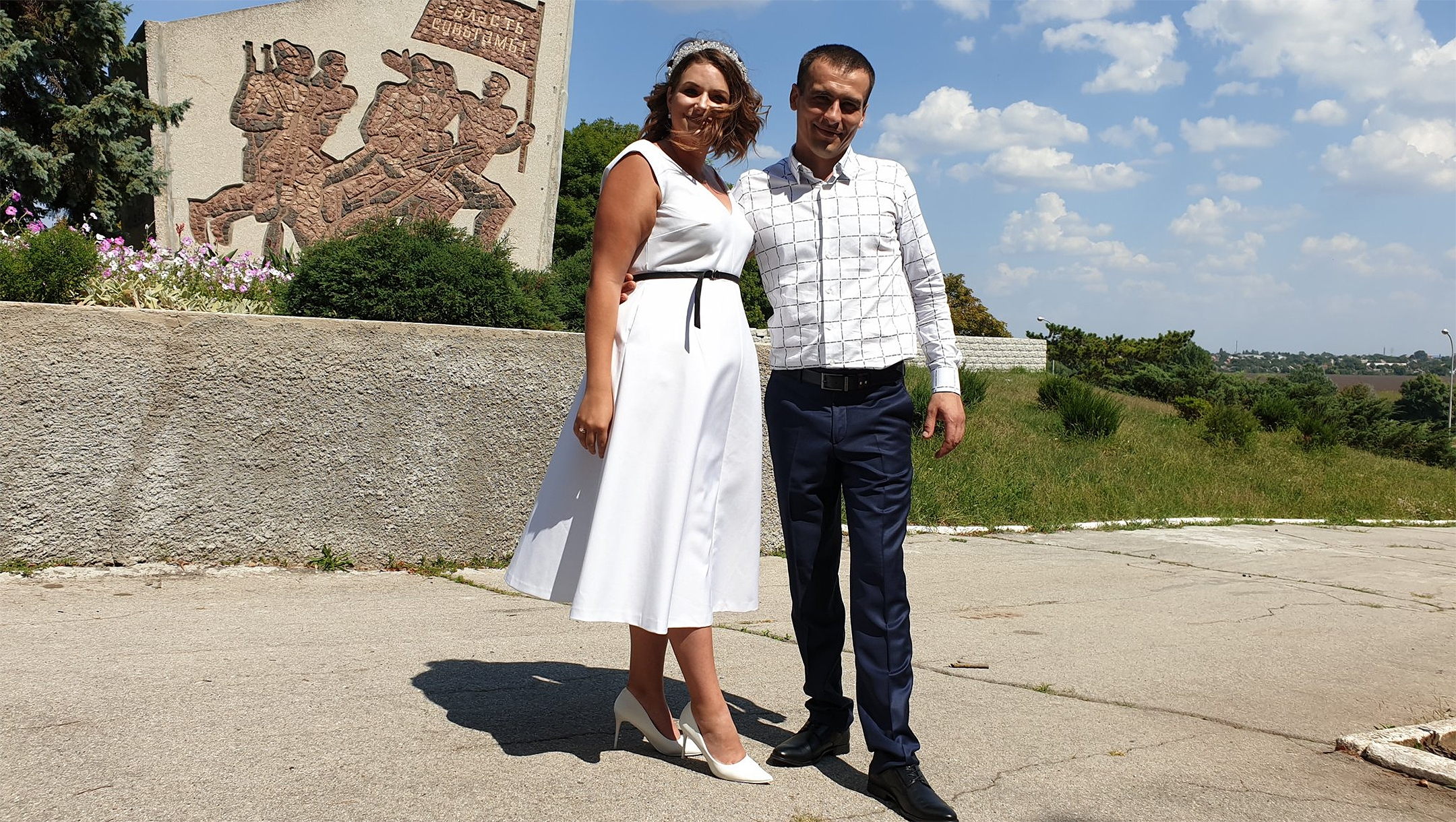 Anastasia and Vitaly posing for the wedding photos in Tiraspol, Transnistria on Aug. 24, 2019. (Courtesy of Roman Yanushevsky/Channel 9)