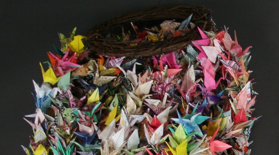 Origami cranes sent in memoriam of the Pittsburgh synagogue shooting. (Courtesy of the Rauh Jewish Archives)