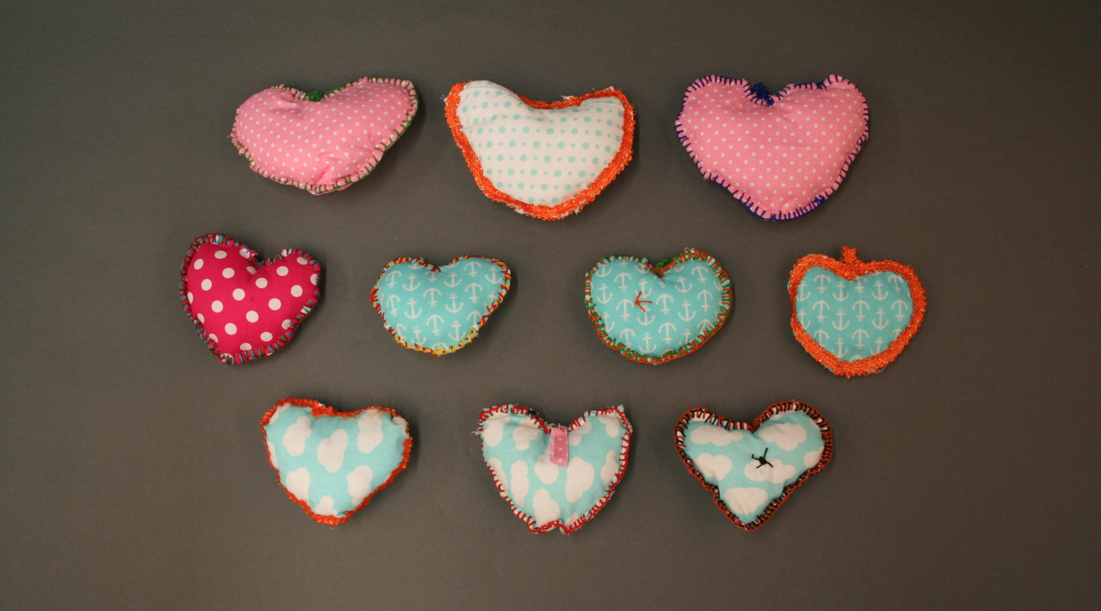Quilted hearts sent in memoriam of the Pittsburgh synagogue shooting. (Courtesy of the Rauh Jewish Archives)
