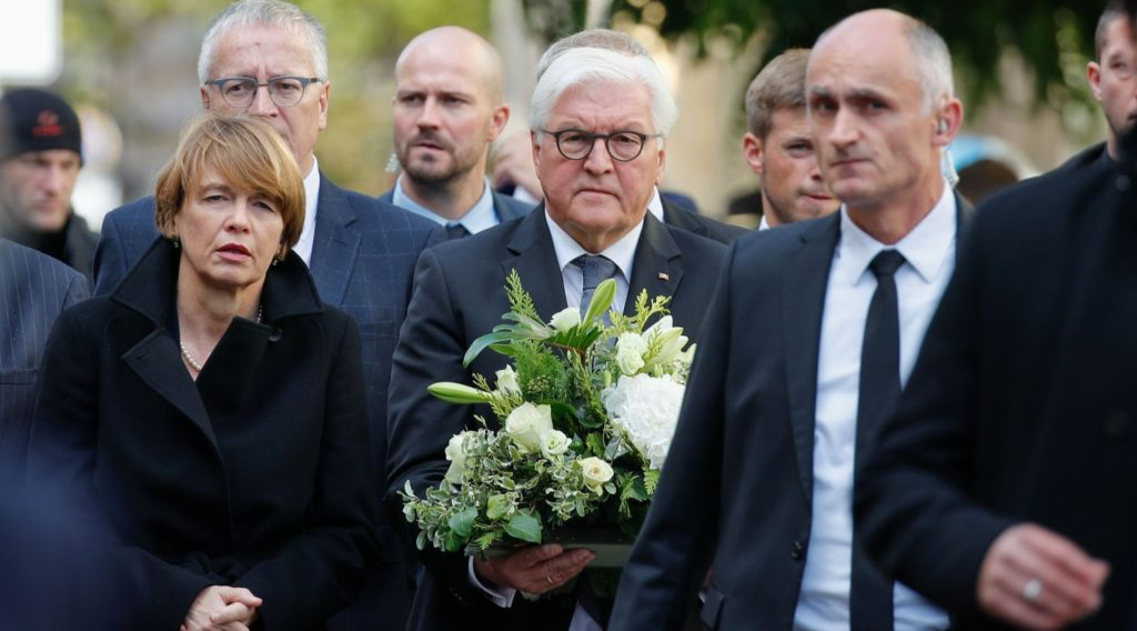 Germany 'must protect Jewish life,' its president says at site of attack near synagogue