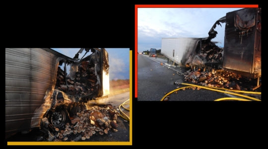The circular cargo went up in flames when a rear axle caught on fire. (Courtesy of the Indiana State Police)