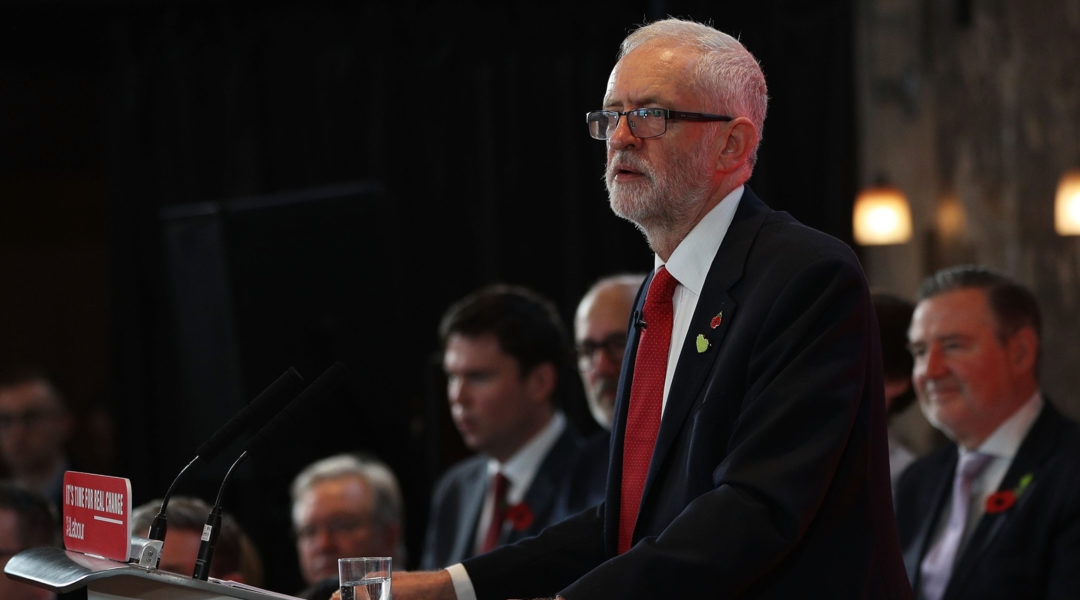 Labour leader Jeremy Corbyn giving an election campaign speech in Battersea, England on October 31, 2019.(Dan Kitwood/Getty Images)