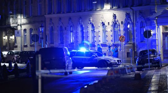 Police arrive after a synagogue was attacked in Gothenburg, Sweden, late Dec. 9, 2017. (Adam Ihse/AFP/Getty Images)