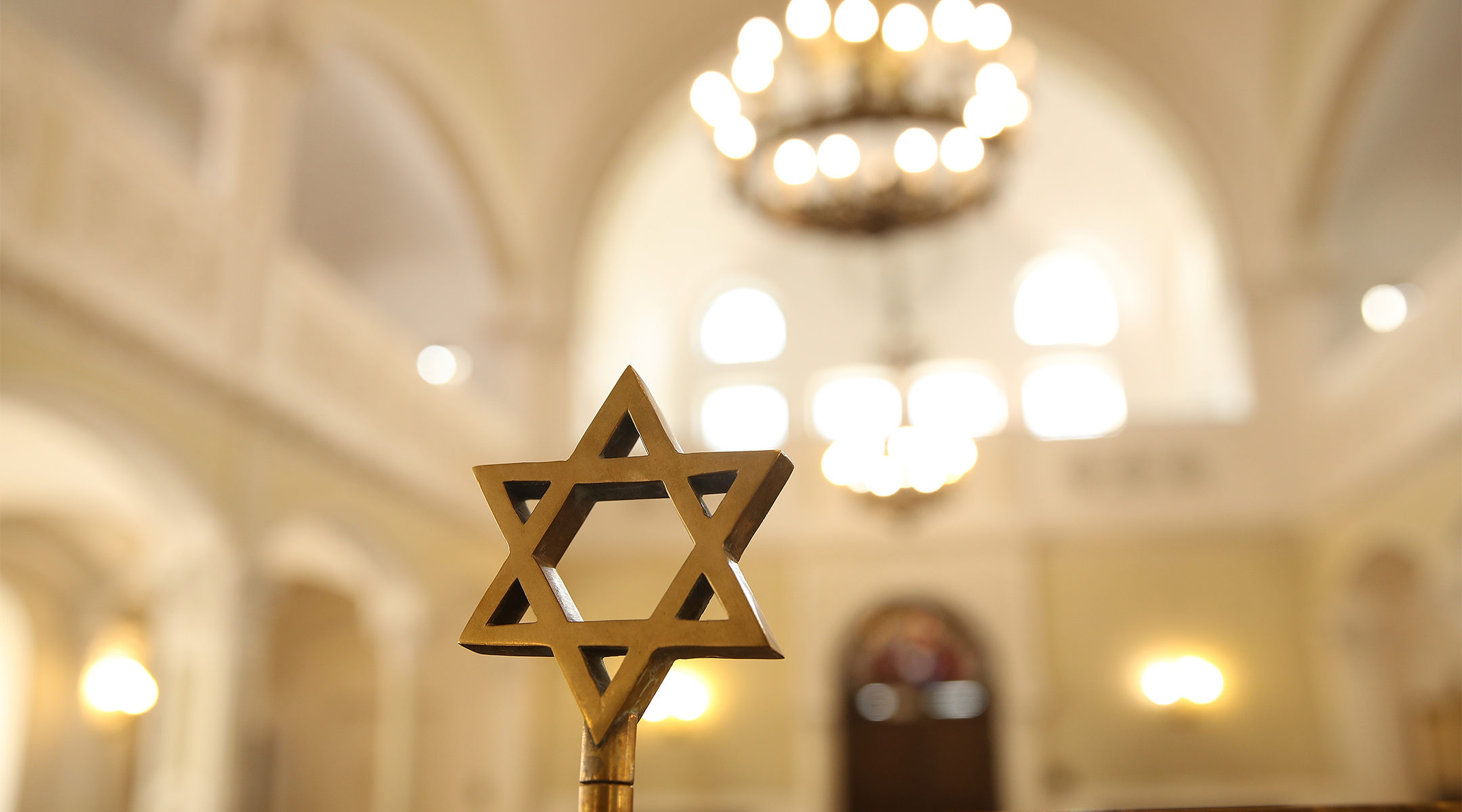 A Star of David stands in the Nozyk Synagogue, Warsaw's only surviving synagogue from before World War II and located in the city's former ghetto, April 12, 2018 (Sean Gallup/Getty Images)