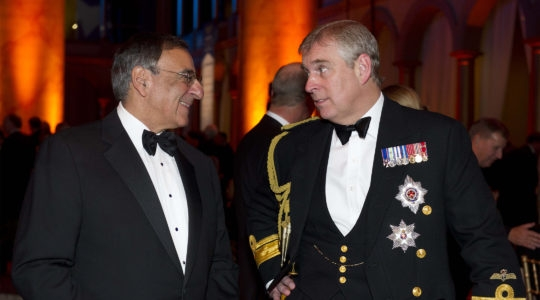 Prince Andrew speaking with former US secretary of defense Leon Panetta at the National Building Museum in Washington, D.C., United States on Dec. 1, 2011. (Department of Defense)