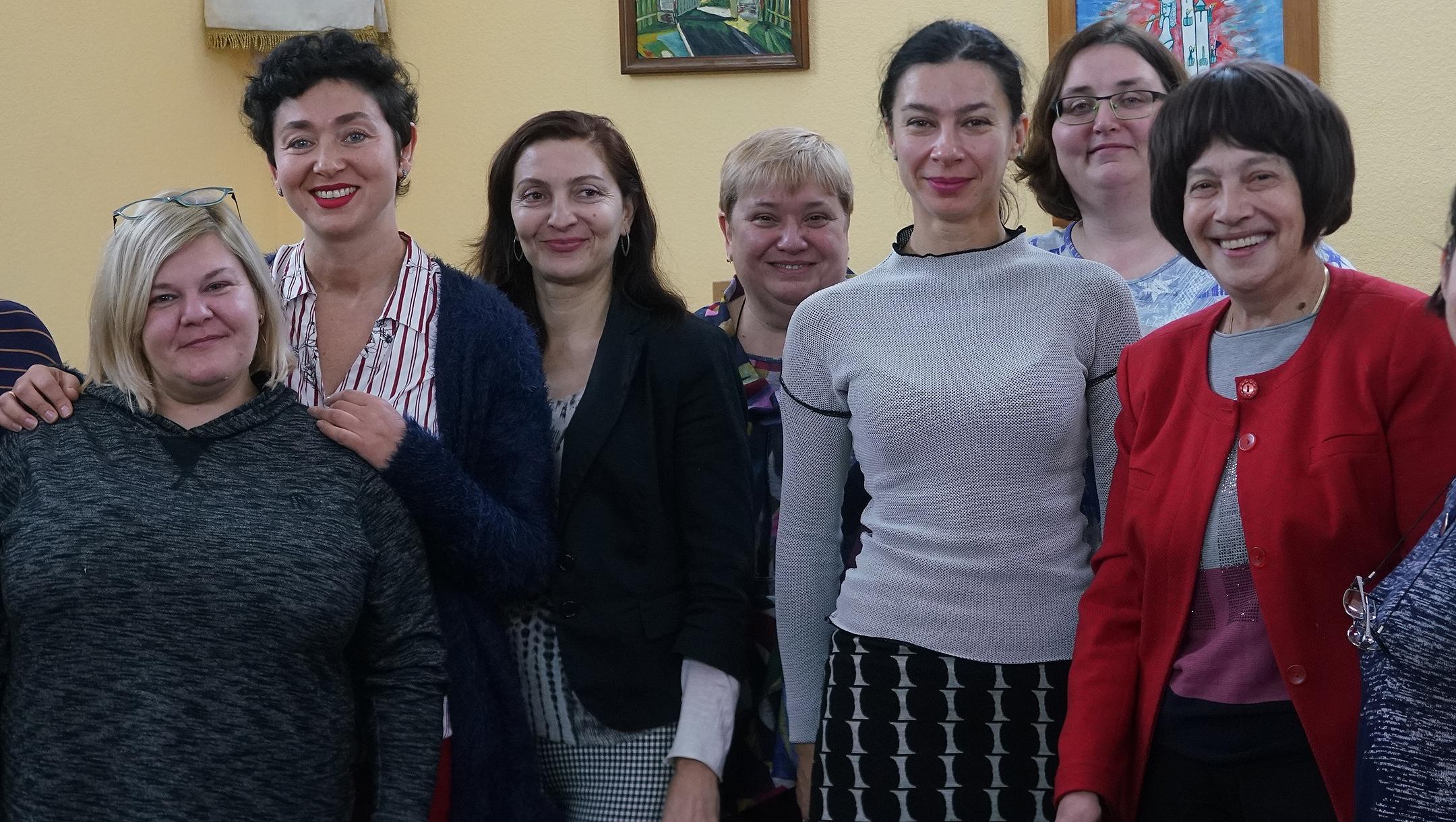 Kira Verkhovskaya, 5th from right, with other Ukrainian Jewish women at the Migdal Jewish Community Center in Odessa on Nov. 3, 2019. (Cnaan Liphshiz)