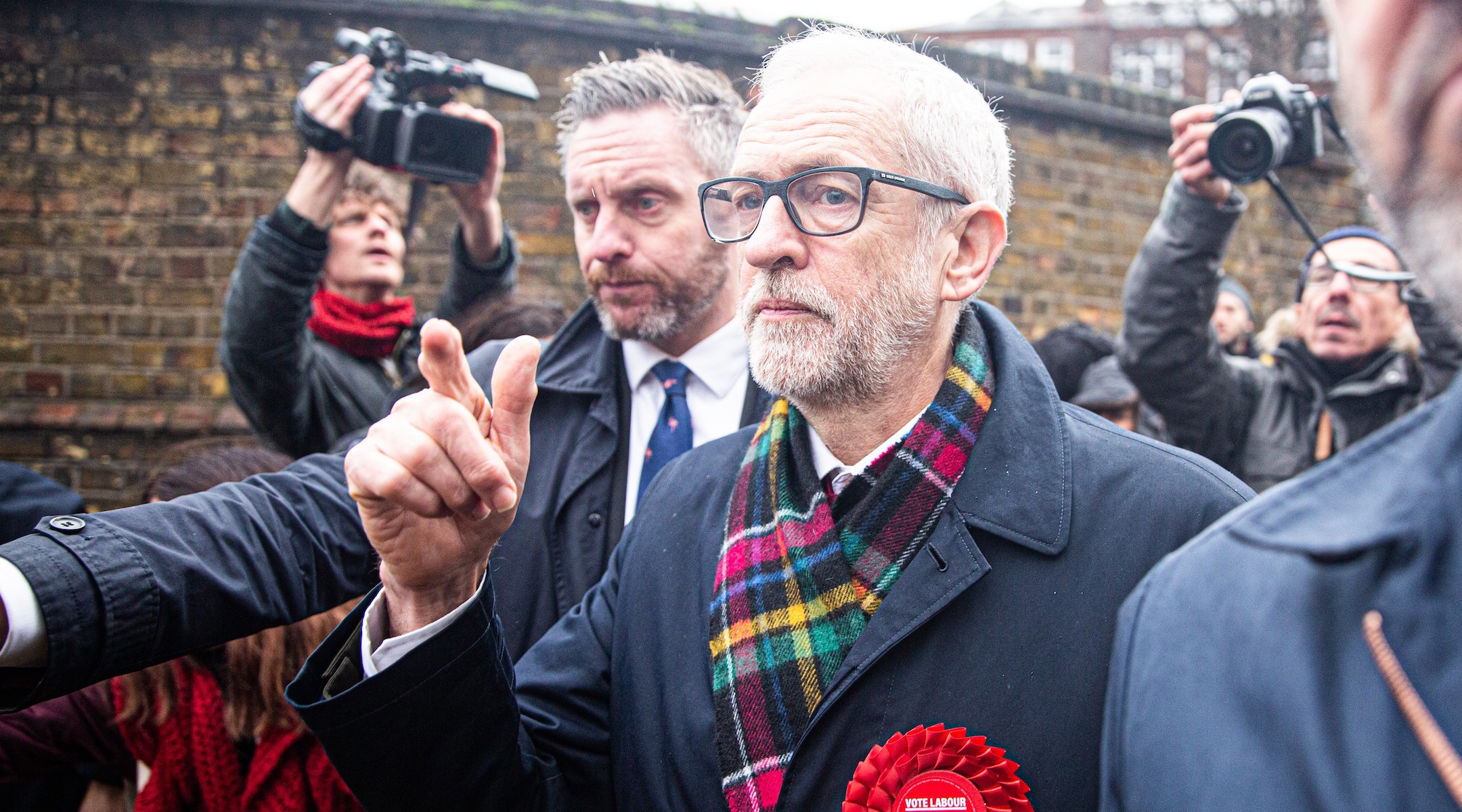 Labour Party Leader Jeremy Corbyn leaves a polling station after voting in the general elections in London, Dec. 12, 2019. (Yunus Dalgic/Anadolu Agency via Getty Images)