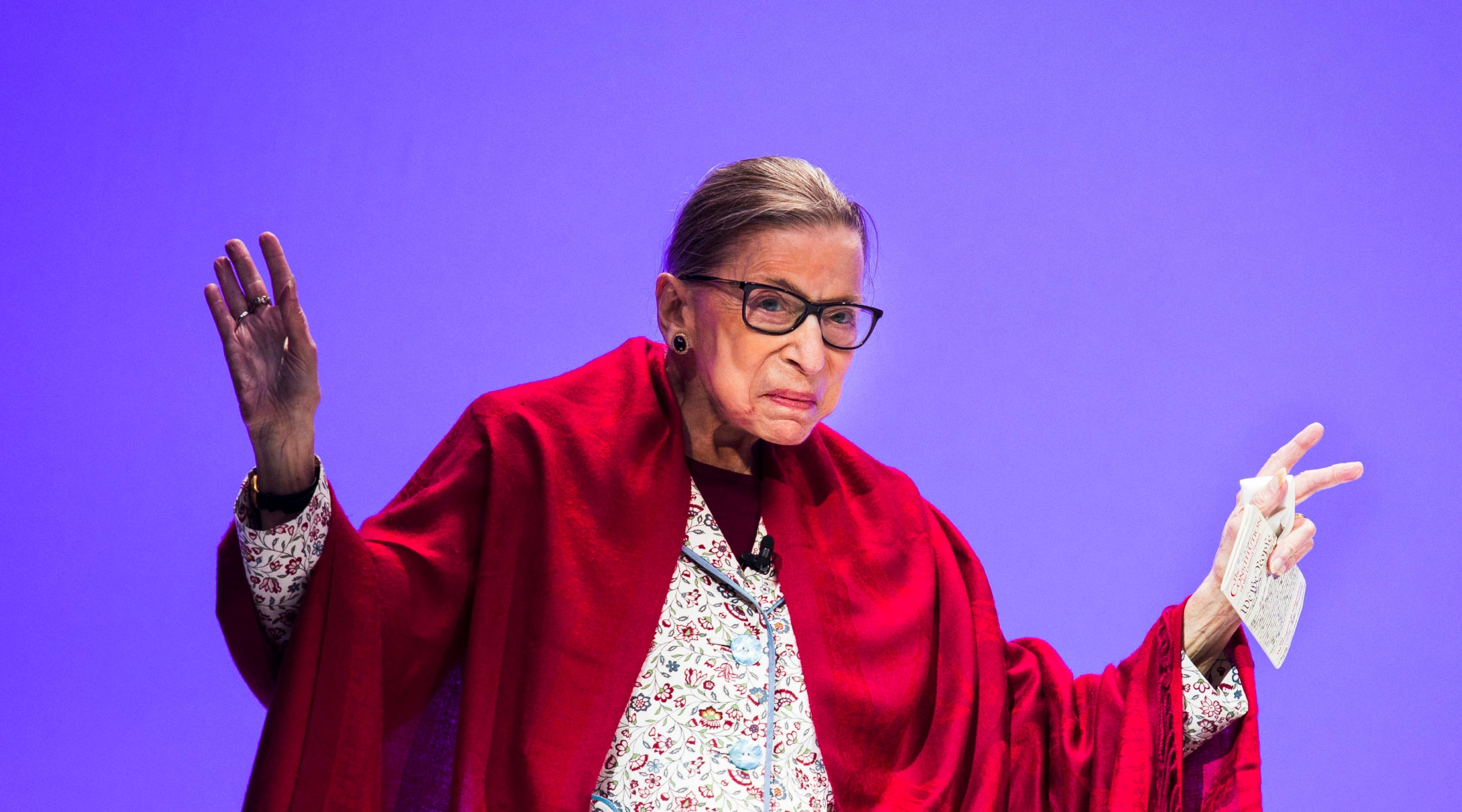 Ruth Bader Ginsburg at Amherst College in Amherst, Mass., Oct. 3, 2019. (Erin Clark for The Boston Globe via Getty Images)