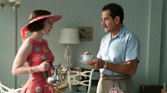 "Tony Shalhoub, right, with Rachel Brosnahan in season three of ""The Marvelous Mrs. Maisel."" (Amazon Studios)"