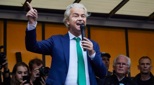 Geert Wilders speaking at a protest rally by Dutch farmers in The Hague, the Netherlands on Oct. 16, 2019. (Pierre Crom/Getty Images)
