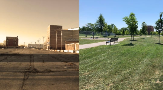The Jewish Neighborhood Development Council has pushed through a number of urban renewal projects in West Rogers Park, such as turning an abandoned parking lot (left) into a park (right). (Courtesy of Howard Rieger)