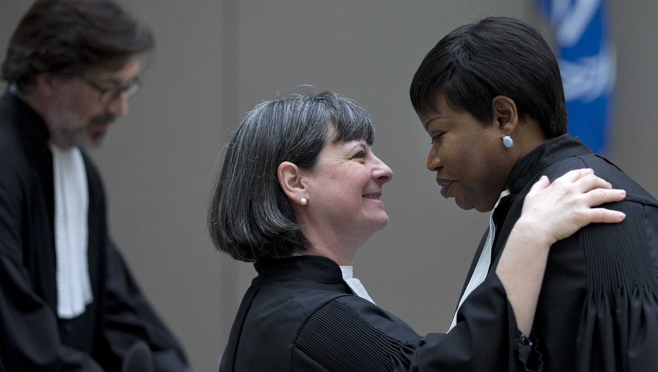 ICC prosecutor Fatou Bensouda, right, and attorney Paolina Massidda wait for the start of a trial against Ivorian former officials at the International Criminal Court in The Hague, the Netherlands on January 28, 2016(Peter Dejong/AFP via Getty Images)