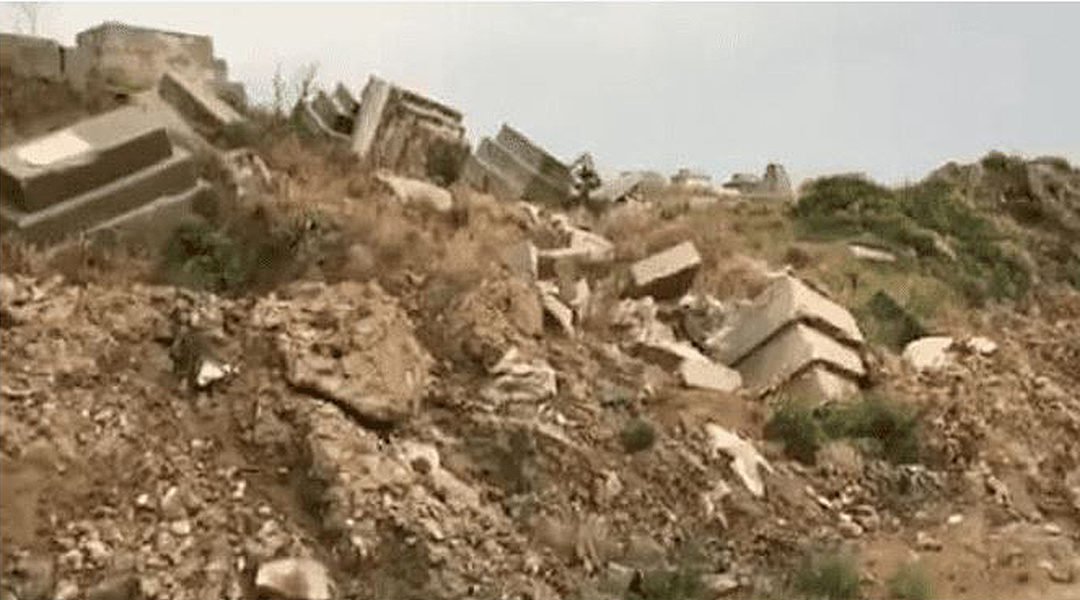 Footage posted in 2018 by a caretaker of the Jewish Cemetery of Sidon appears to show damage to at least seven tombstones. (Nagi Georges Zeidan/Facebook)