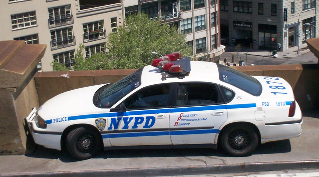 A NYPD car on the Brooklyn Bridge. (Wikimedia Commons)