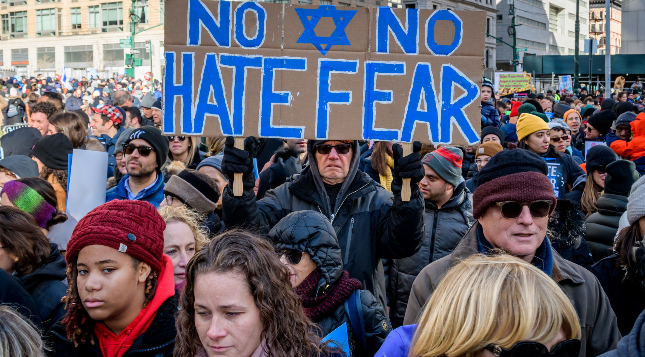 "Thousands of New Yorkers of all backgrounds convened at the ""No Hate. No Fear"" solidarity march against anti-Semitism in January 2020. The march followed a year in which attacks against Jews spiked. (Erik McGregor/LightRocket via Getty Images)"