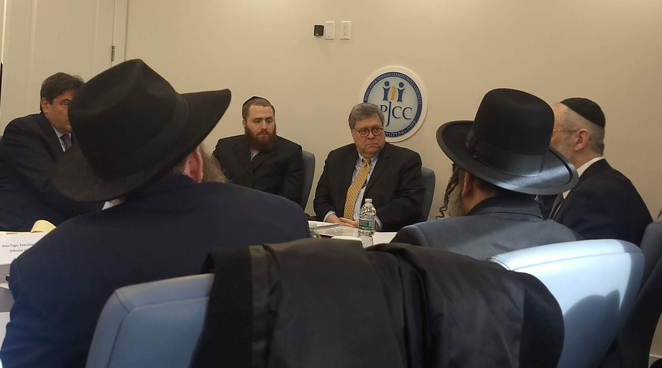 Attorney General William Barr speaks to a group of Orthodox leaders in Brooklyn on January 28, 2020. (Ben Sales)