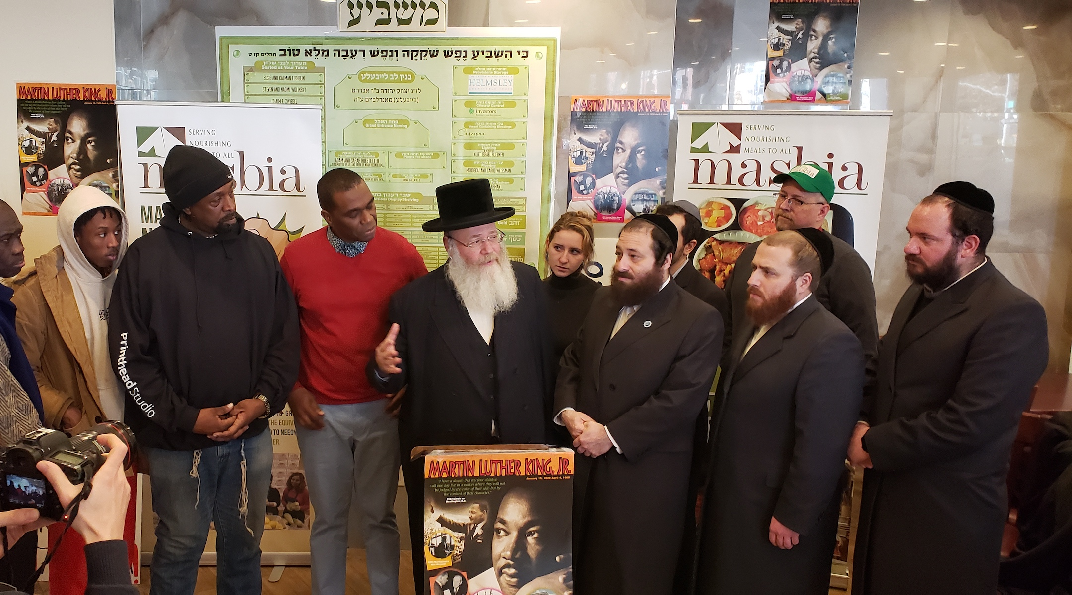 Yosef Rapaport, a community activist, speaks at a Martin Luther King Jr., Day event at the Masbia soup kitchen in Brooklyn. (Courtesy of Masbia)