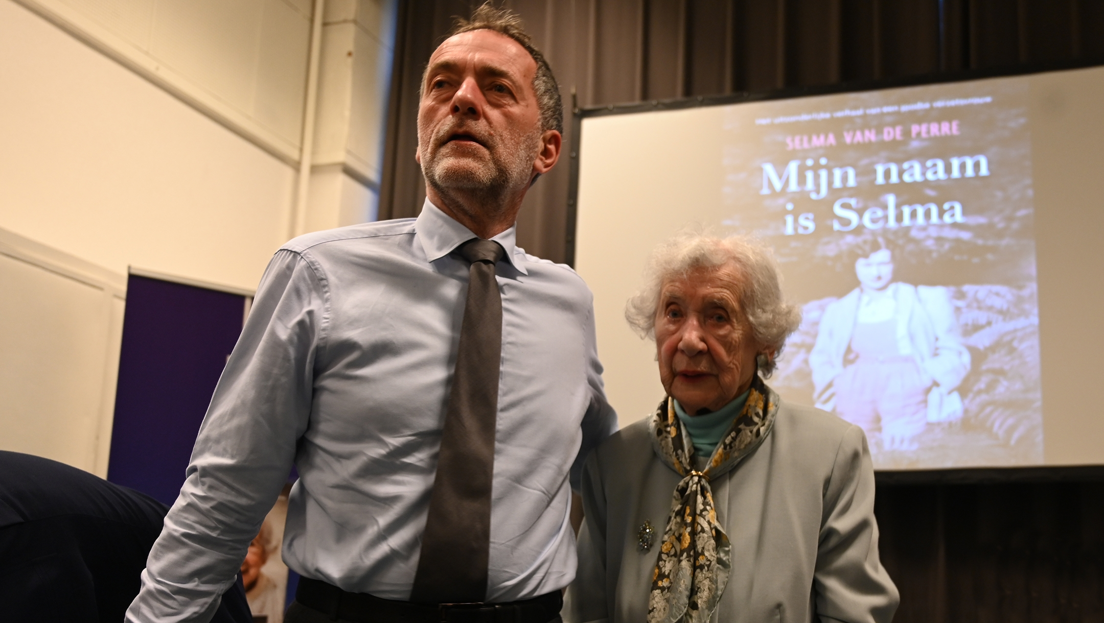 Selma van de Perre and her son, Jocelin, during a presentation of her book at the National Holocaust Museum in Amsterdam, the Netherlands on Jan. 9, 2020. (Cnaan Liphshiz)