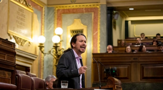 Unidas Podemos party leader Pablo Iglesias speaking during a debate at the Spanish Parliament in Madrid, Spain on January 04, 2020. (Pablo Blazquez Dominguez/Getty Images)