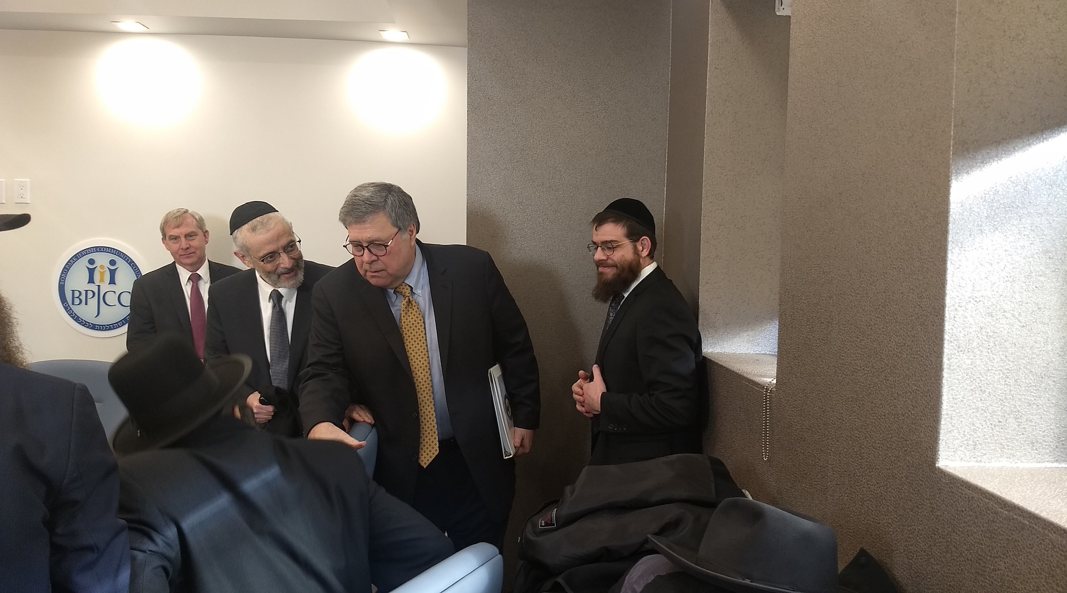 Attorney General William Barr greets Orthodox leaders ahead of meeting with them in Brooklyn on January 28, 2020. (Ben Sales)