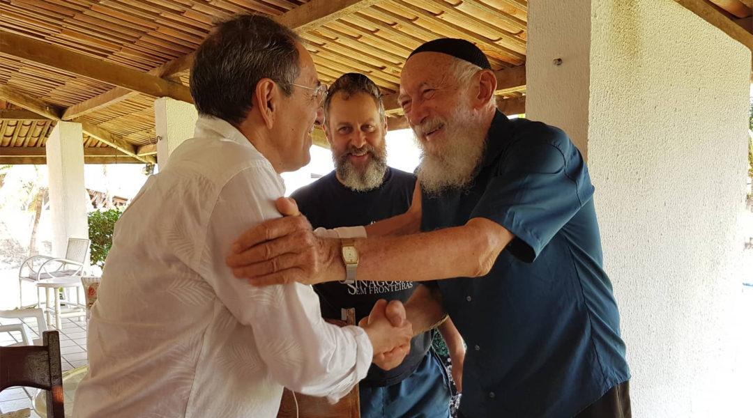 Benedito Araujo de Souza, right, arriving at Yeshiva Camp in Aquiraz, Brazil on Jan. 2, 2020. (Synagoga Sem Froteiras)