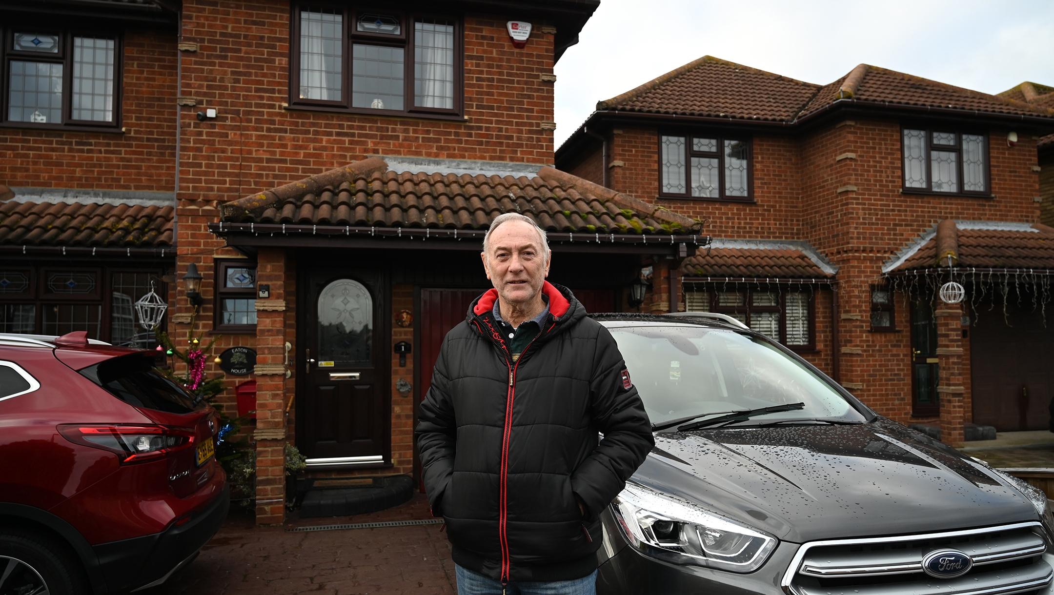 Tony Eaton standing outside his home on Canvey Island, UK on Dec. 13, 2019. (Cnaan Liphshiz)