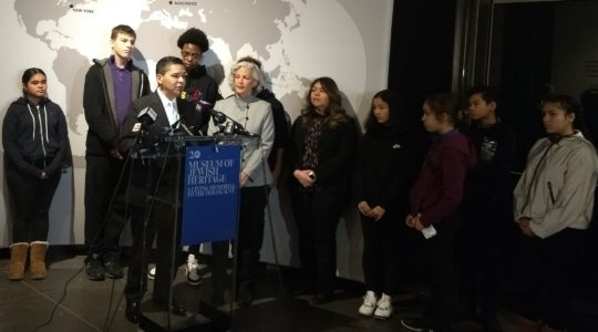 New York City Schools Chancellor Richard Carranza speaks at a press conference head of a students' tour of the Museum of Jewish Heritage in New York City on Jan. 15, 2020. (Ben Sales)