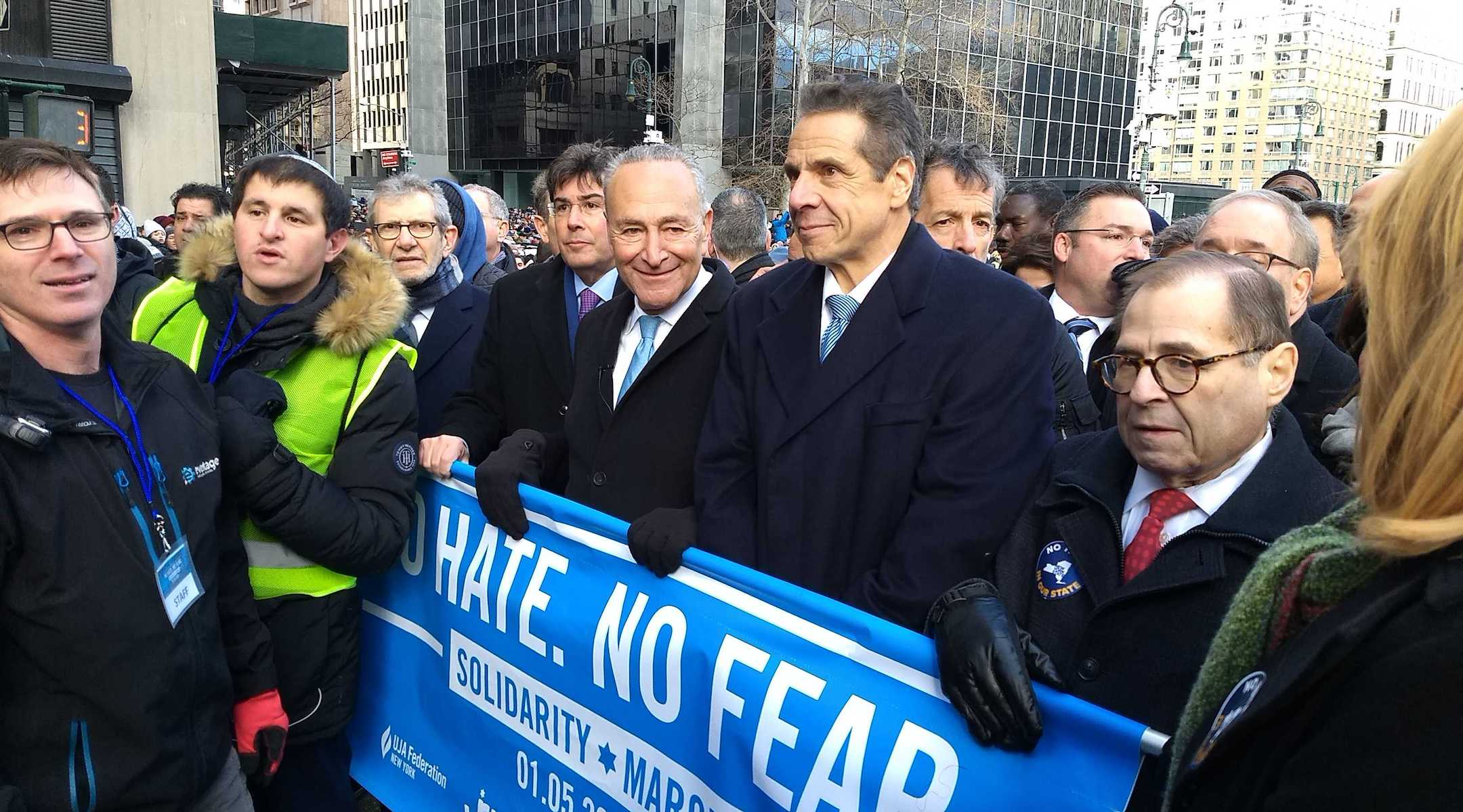 From right: Rep. Jerrold Nadler, Gov. Andrew Cuomo, Sen. Chuck Schumer, UJA-Federation CEO Eric Goldstein and Jewish Community Relations Council CEO Michael Miller kick off the march against anti-Semitism in New York City on January 5. (Ben Sales)