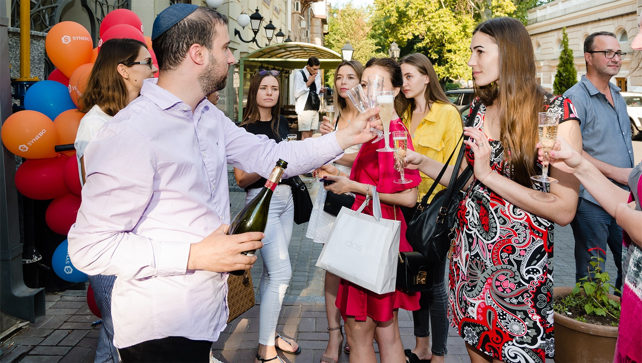 Patrons of Kosher Bar toasting outside the establishment in Odessa, Ukraine on Sept. 1, 2019. (Courteasy of Kosher Bar)