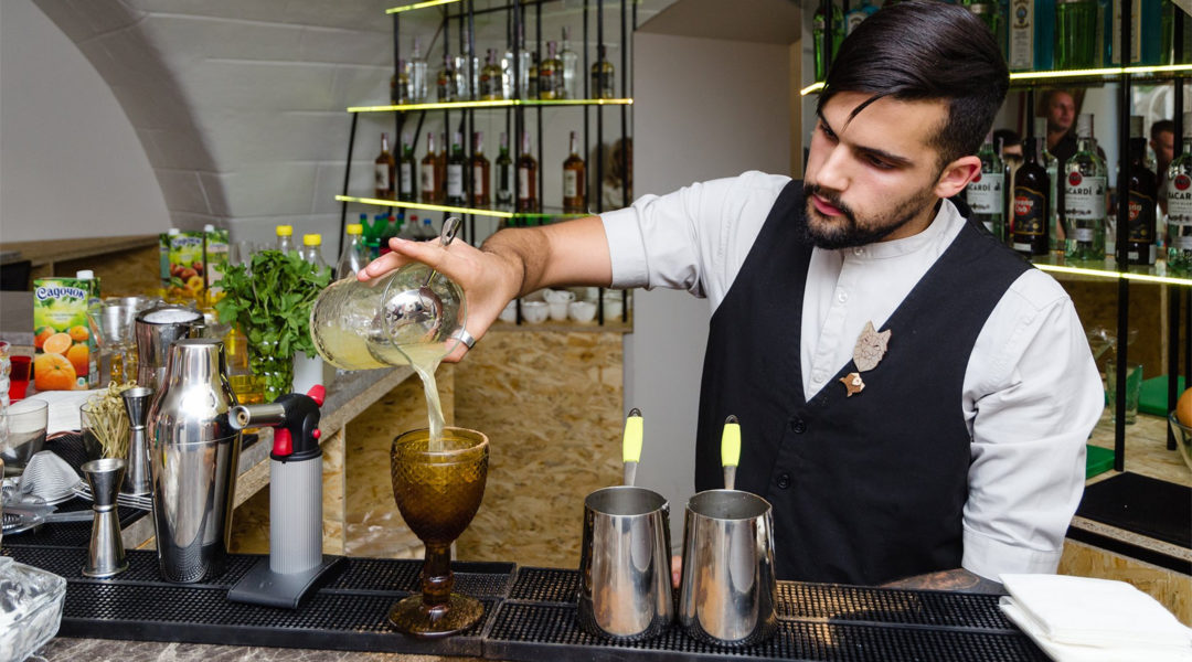 A barman preparing a cocktail at Kosher Bar in Odessa, Ukraine on Sept. 25, 2019. (Courtesy of Kosher Bar)
