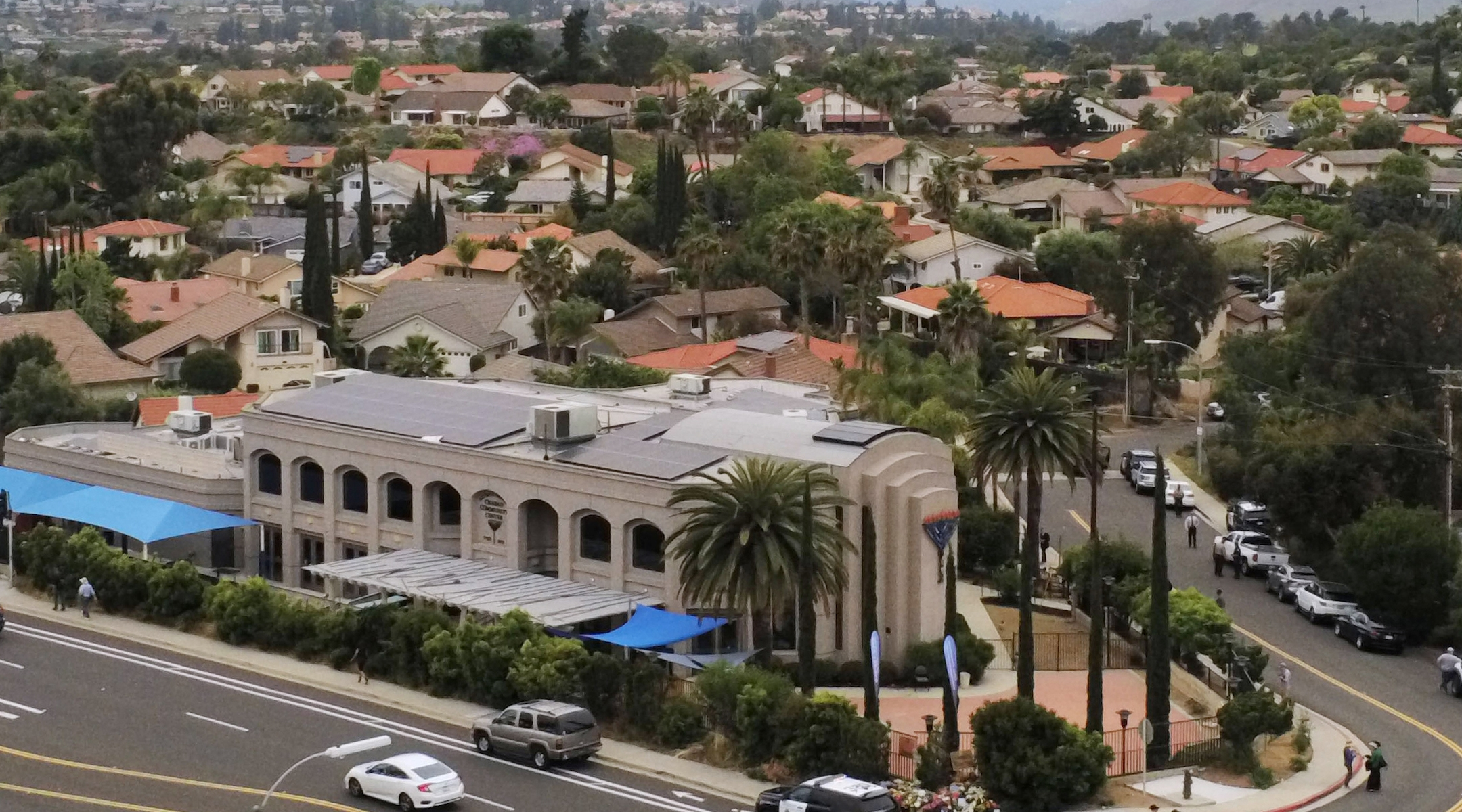 An aerial view of the Chabad of Poway synagogue in Poway, Calif. on April 28, 2019, a day after a deadly shooting there. (Sandy Huffaker/AFP via Getty Images)