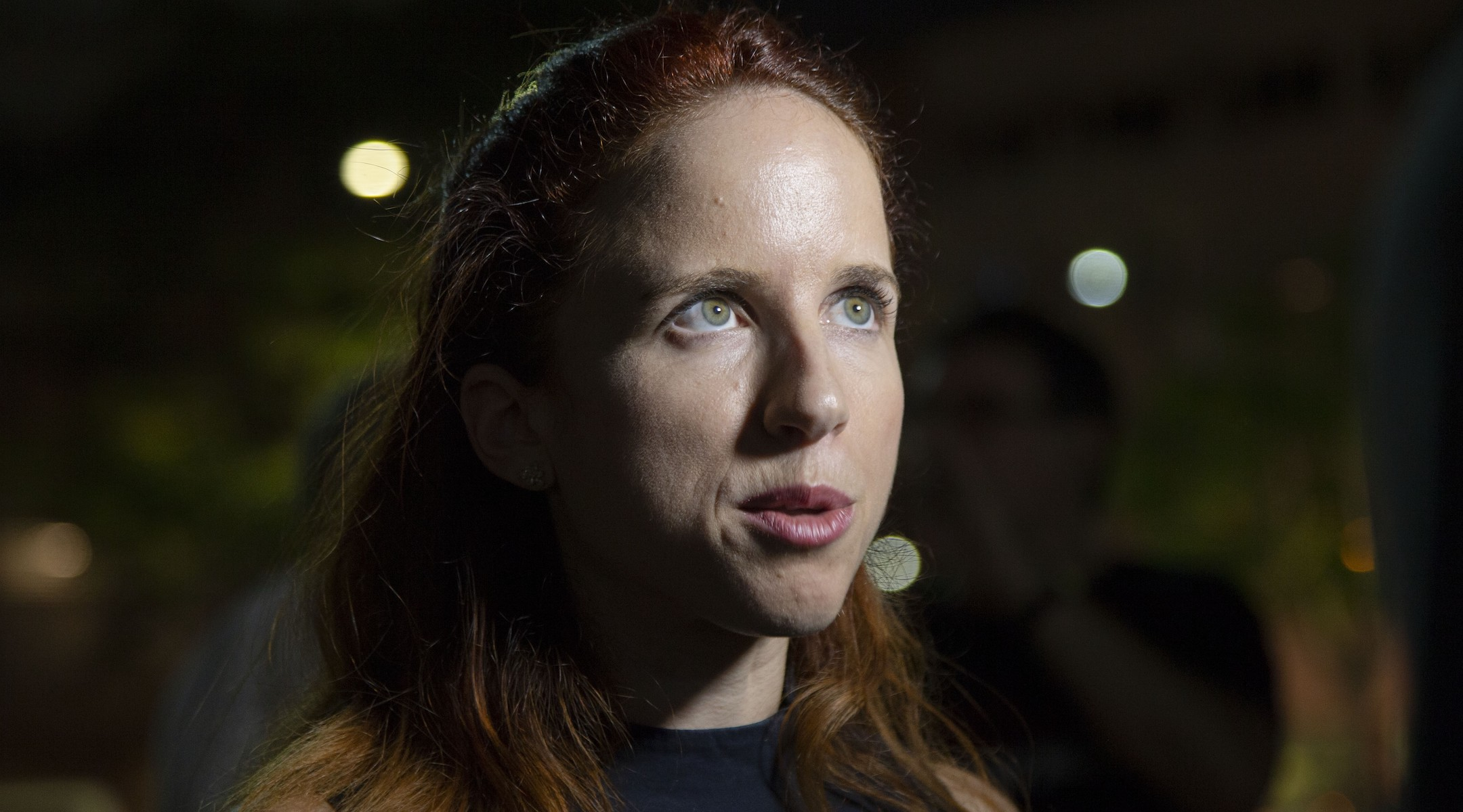 Stav Shaffir speaks to reporters ahead of elections in Tel Aviv on September 14, 2019. (Faiz Abu Rmeleh/Getty Images)