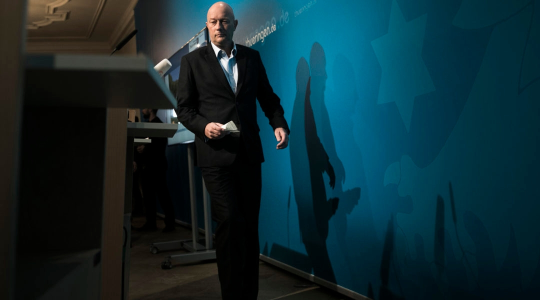 Thomas Kemmerich, who was elected governor of Thuringia but resigned the post, arriving to a press conference in Erfurt, Germany on February 6, 2020. (Carsten Koall/Getty Images)