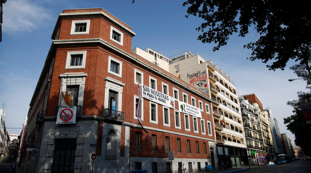 The building known as The Ungovernable, which is to become the Jewish museum of Madrid, Spain, pictured when it was still illegally occupied by far-left activists on July 4, 2019 (Eduardo Parra/Europa Press via Getty Images)
