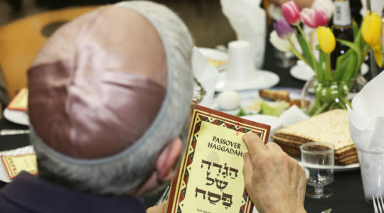 A Jewish man reads the Passover Haggadah during a seder in North York, Ontario, Canada on April 19, 2019. (Creative Touch Imaging Ltd./NurPhoto via Getty Images)