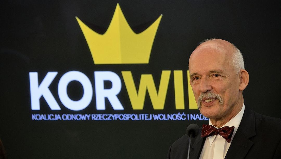 Janusz Korwin-Mikke speaking at the Polish parliament in Warsaw on June 26, 2015. (Adrian Grycuk/Wikimedia Commons)