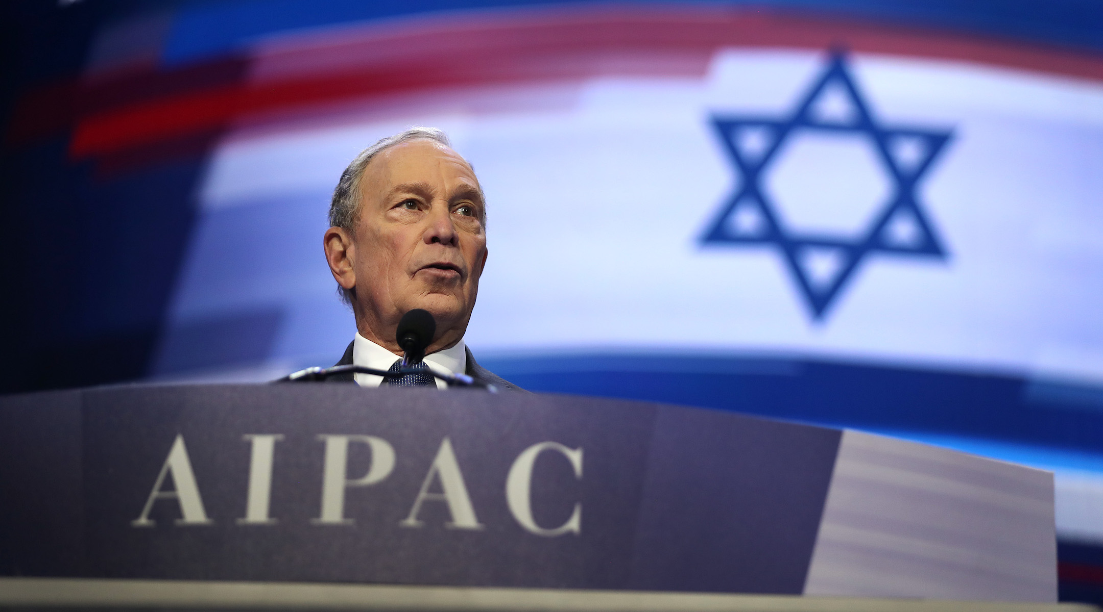 Presidential candidate and former New York City Mayor Mike Bloomberg speaks during the American Israel Public Affairs Committee Policy Conference in Washington, DC on March 2, 2020. (Saul Loeb/Getty Images)