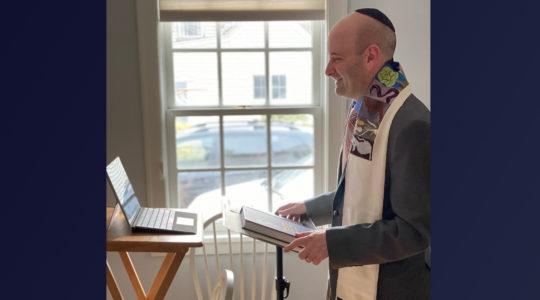 rabbi with computer