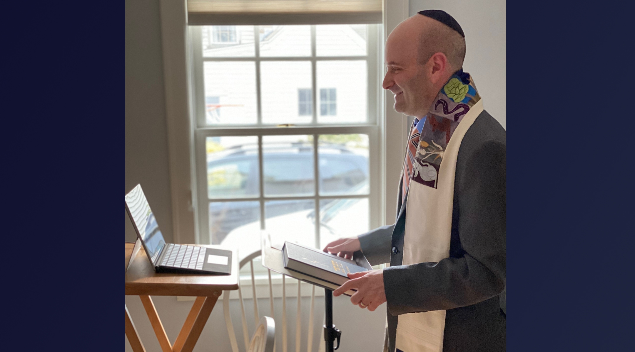 rabbi with computer