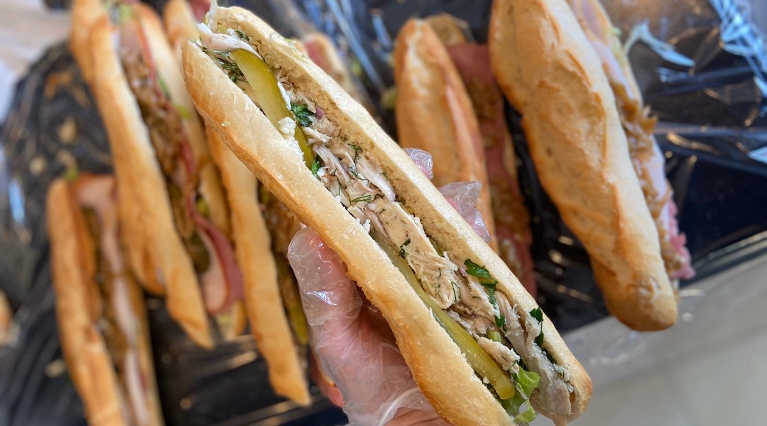 """Balouka is bringing in """"simple and delicious"""" meals, like this chicken salad sandwich, that don't require reheating. (Courtesy of Balouka)"""