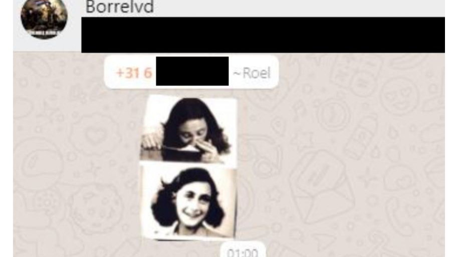 A screenshot of the meme of Anne Frank shared on the WhatsApp group of the young supporters of the Forum for Democracy party in the Netherlands. (HP\DeTijd)