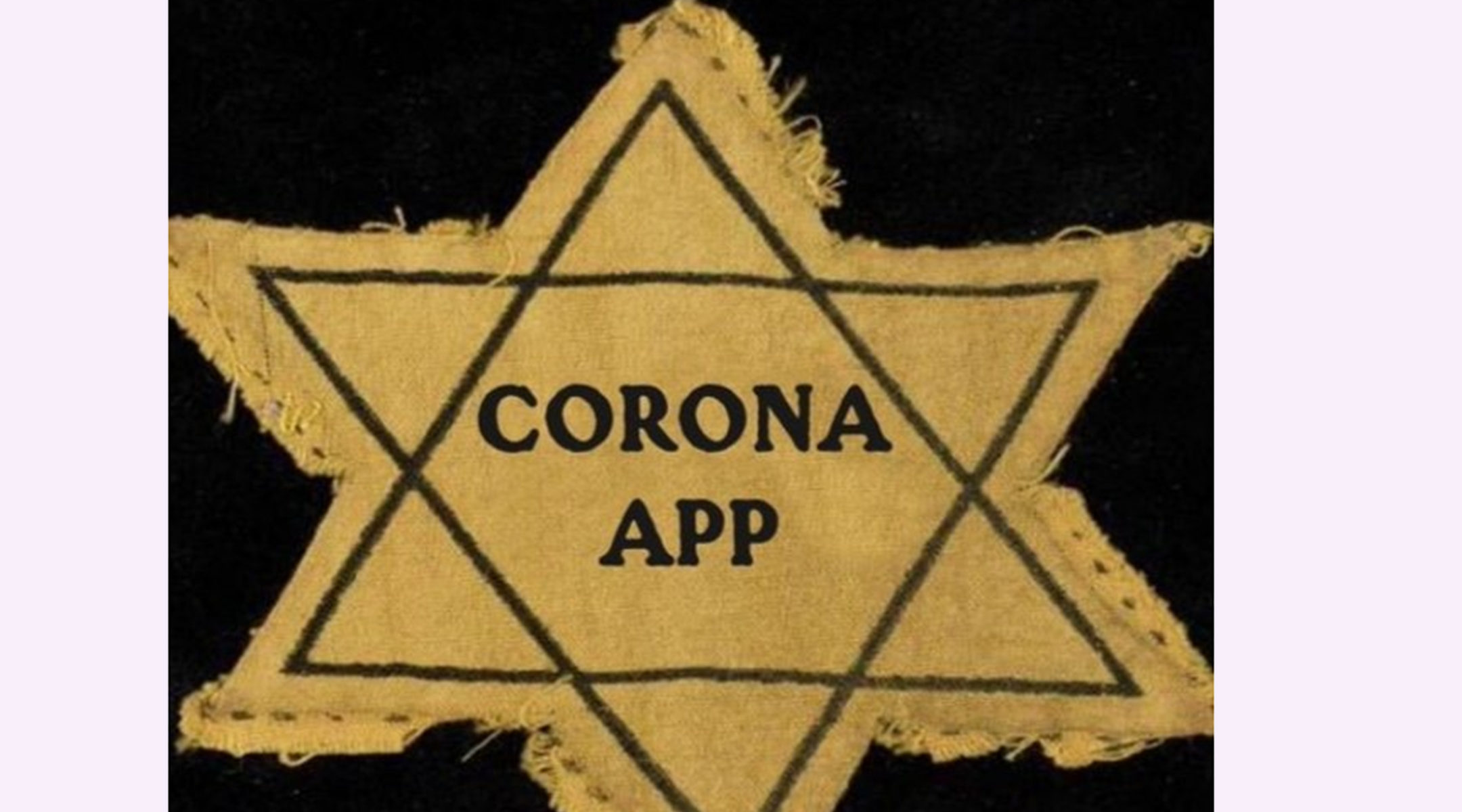 A picture referencing the Holocaust to protest an application for monitoring coronavirus carriers. (Arnoud van Doorn/Twitter)