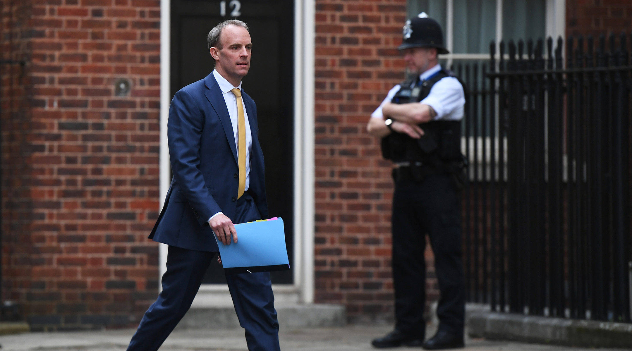British Secretary of State Dominic Raab arriving to a briefing about the coronavirus at prime minister's residence on Downing Street 10, London, the United Kingdon on April 7, 2020. (Chris J Ratcliffe/Getty Images)