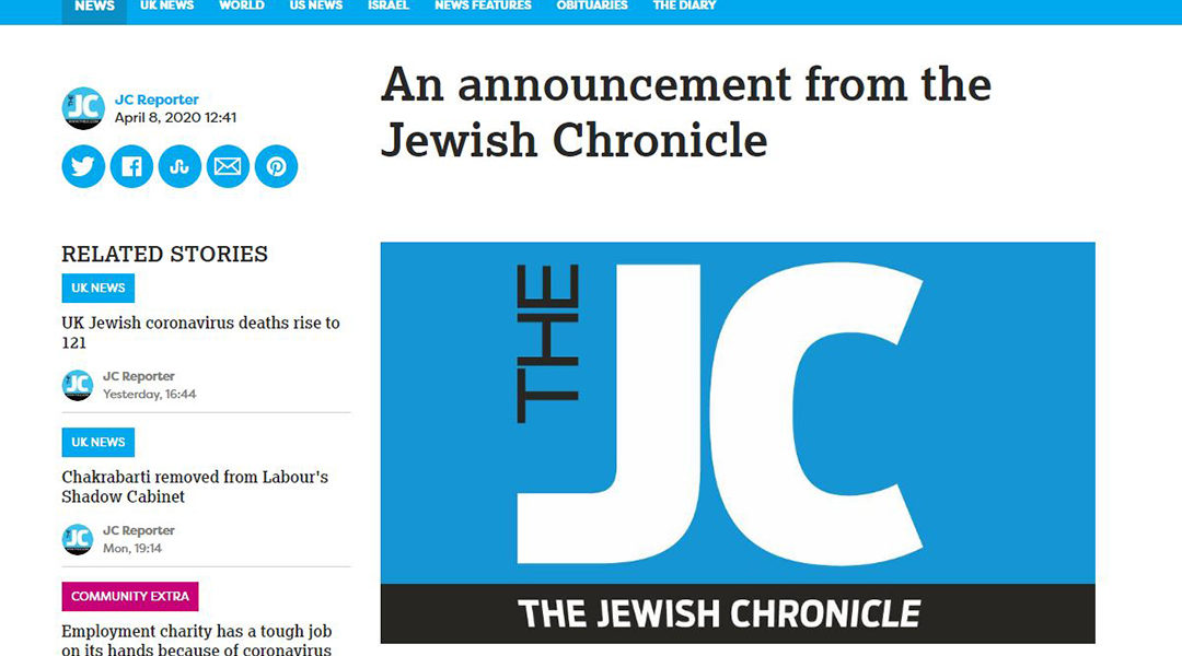 A screenshot of the Jewish Chronicle announcement on its liquidation on April 8, 2020.