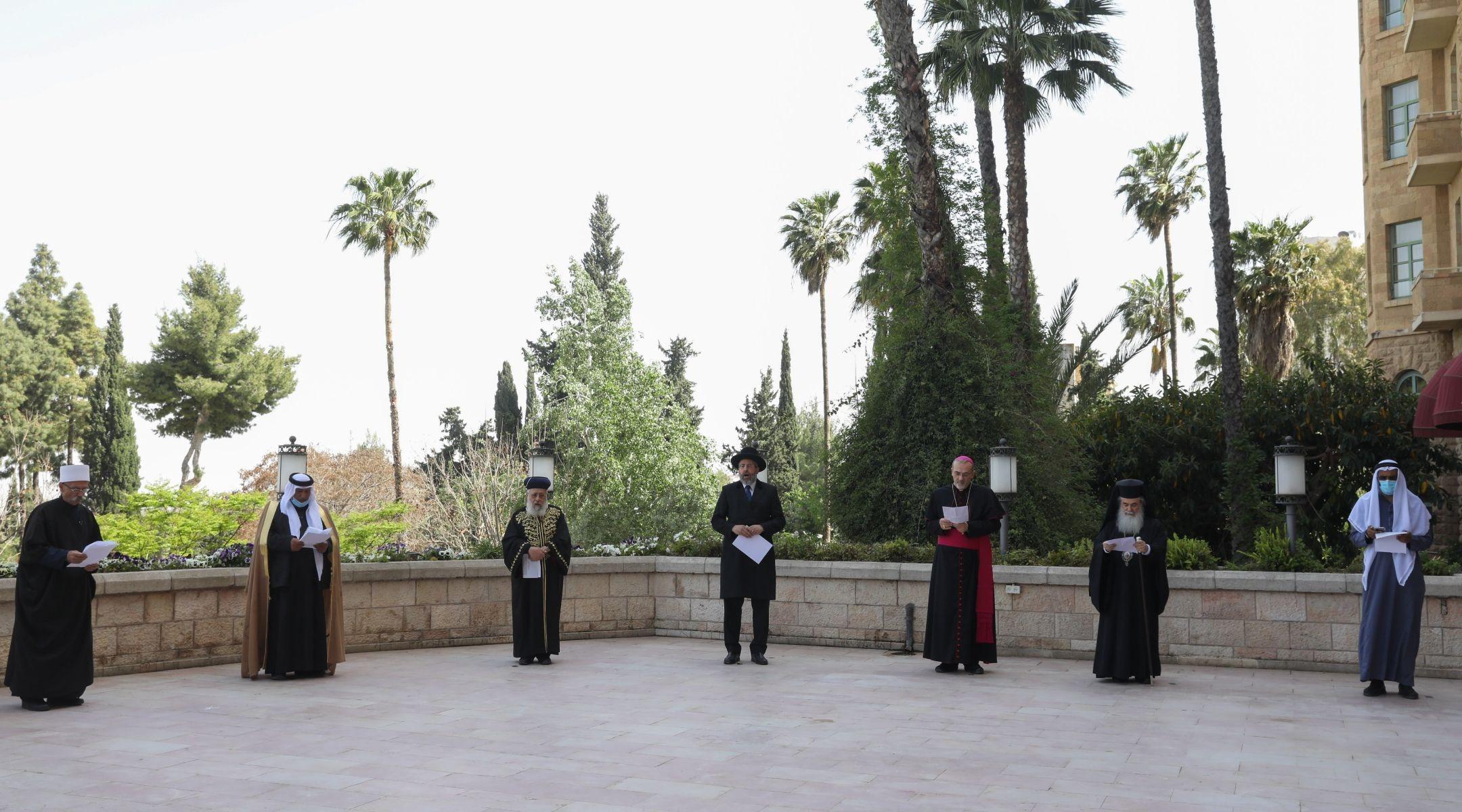 Religious leaders in Jerusalem recite joint prayer composed for the coronavirus