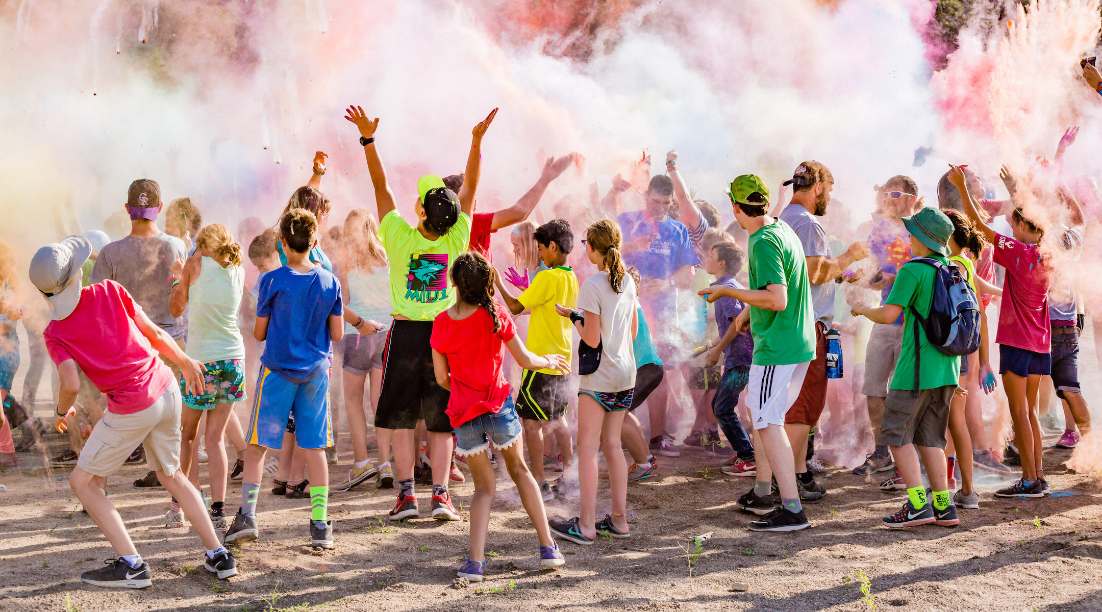 Like many camp activities, the 2017 Color War at JCC Ranch Camp in Colorado involved crowds of kids. This year, with its summer session canceled, the camp is becoming a family camp with socially distanced activities. (Noah Gallagher)