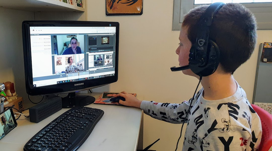 A camper participates in Big Idea camp@home, a virtual Israeli tech camp. (Courtesy of Big Idea)